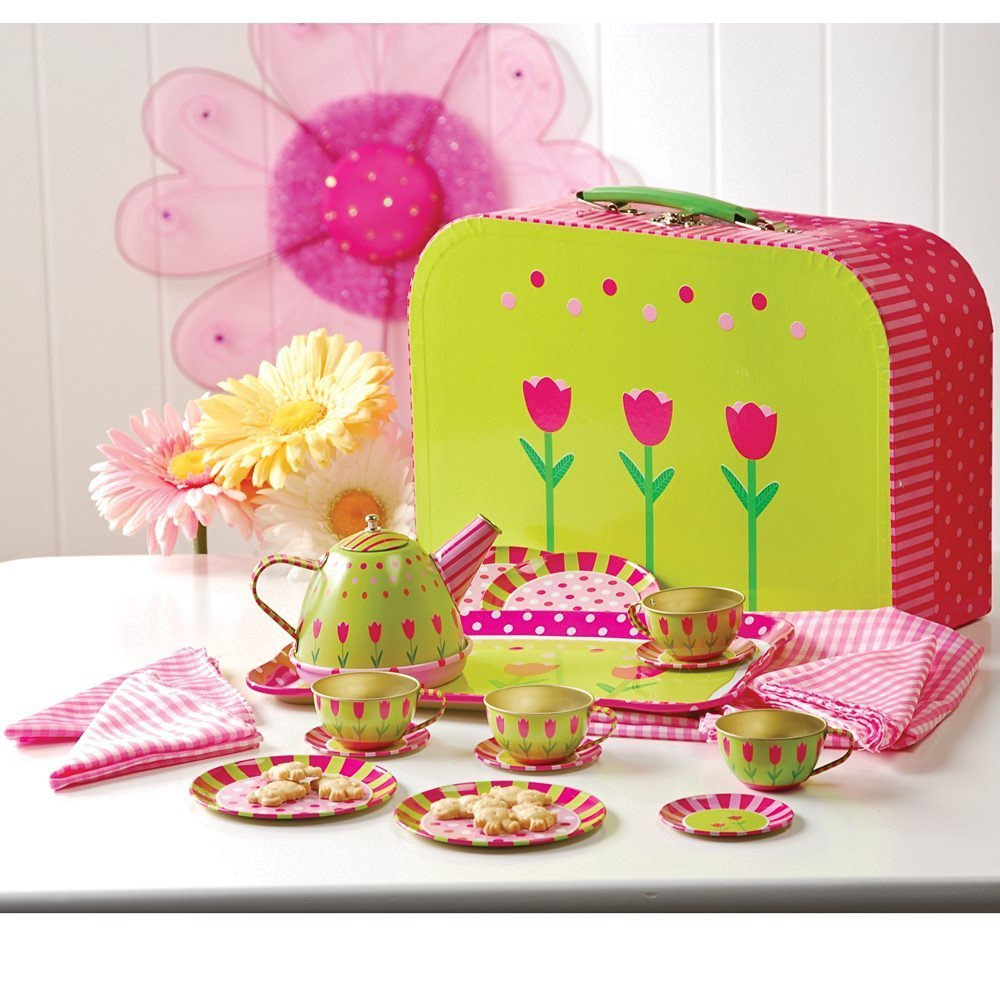 CP Toys Take-Along Tin Tea Set for Kids - 20 Pieces Including Service for 4, Tea Pot, Napkins, and Tablecloth - Ages 3 and Up