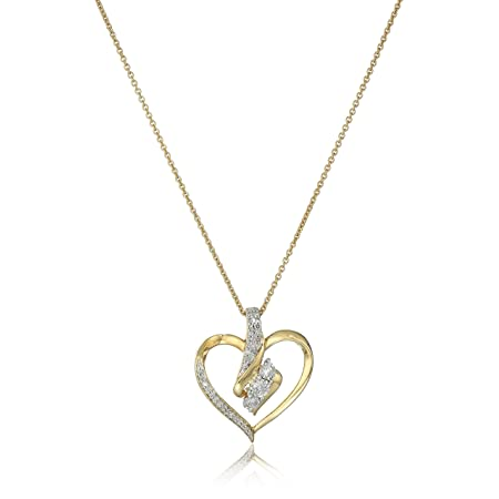 3 Stone Heart Pendant Necklace