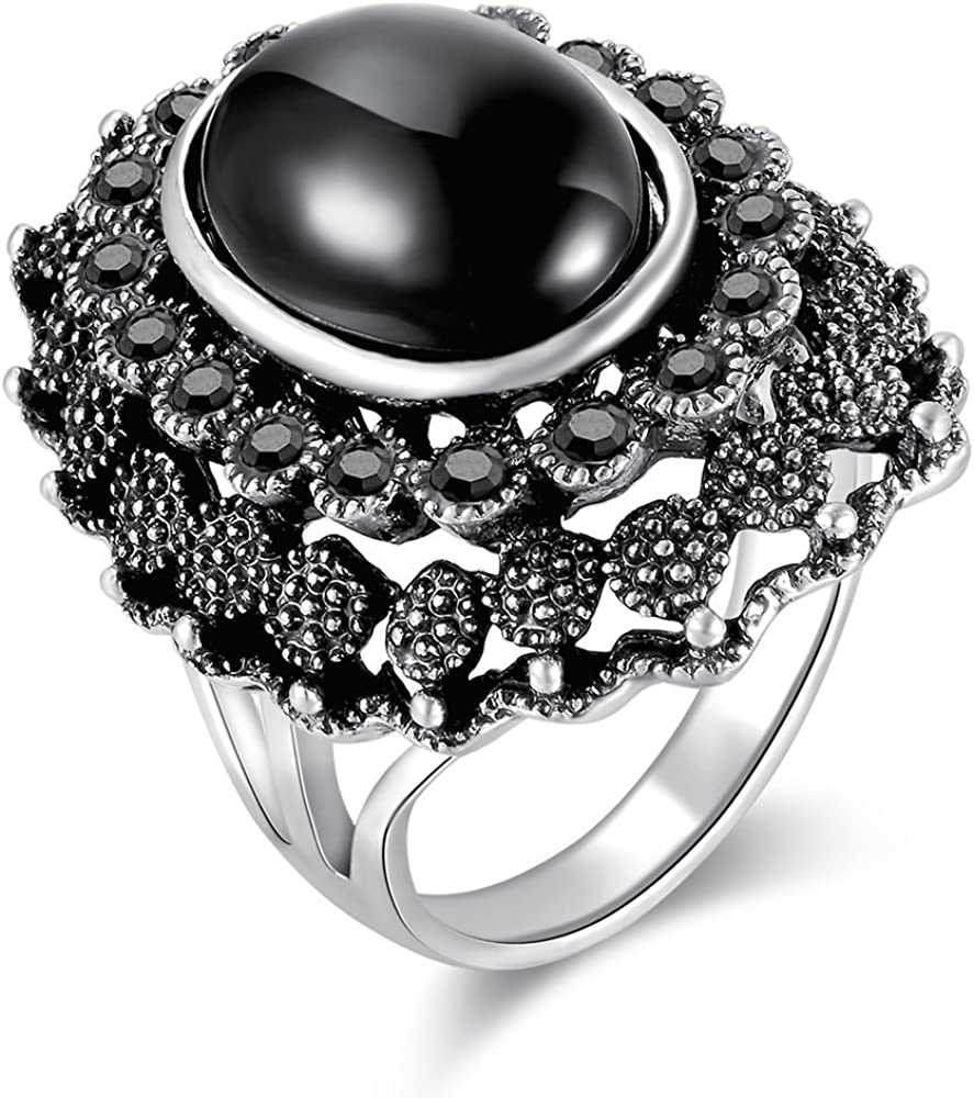 S Style GOLD Adjustable Ring Fashion Women Lady Retro Alloy Big oval Black stone