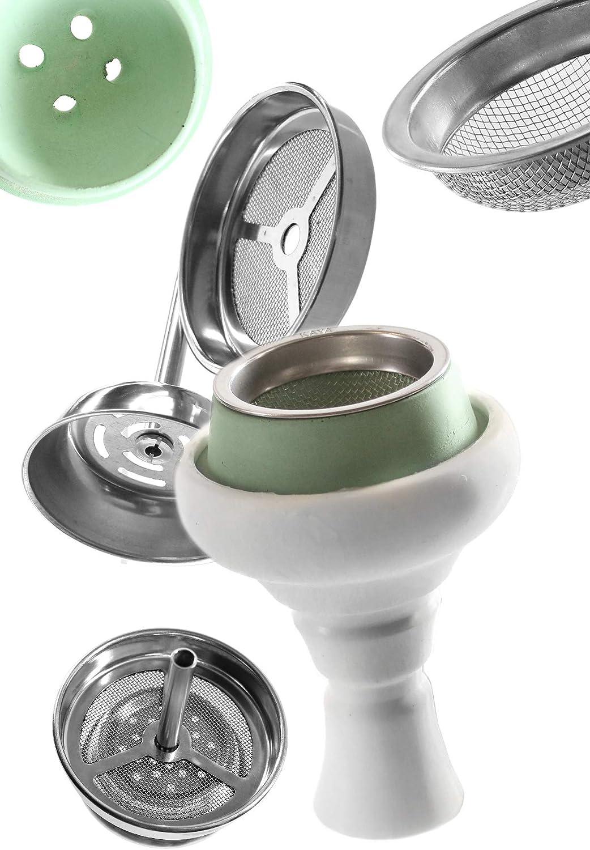 cachimba de silicona Kaya-Shisha con inserto de chimenea y colador de tabaco Juego de cabeza Shisha (Blanco/Verde)