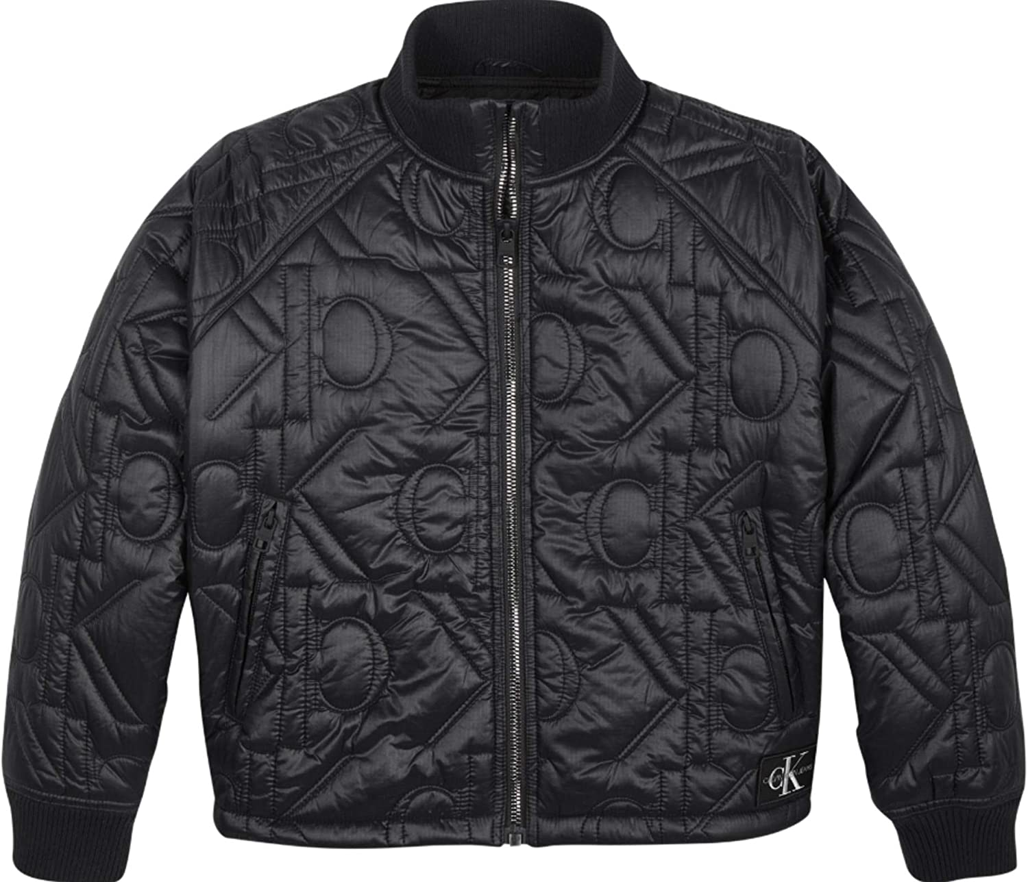 Calvin Klein Monogram Quilted Bomber - Chaqueta para mujer, color Color: negro.