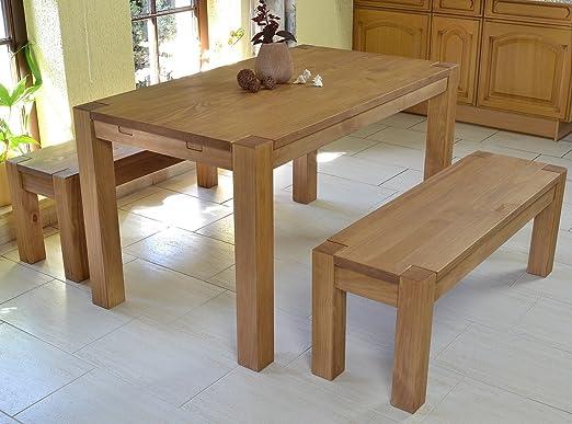 Sitzgruppe Rio Bonito Farbton Honig hell mit Esstisch 140x80cm + 2x Sitzbank 120x38cm Pinie Massivholz geölt und gewachst Tisch und Bank, Optional: