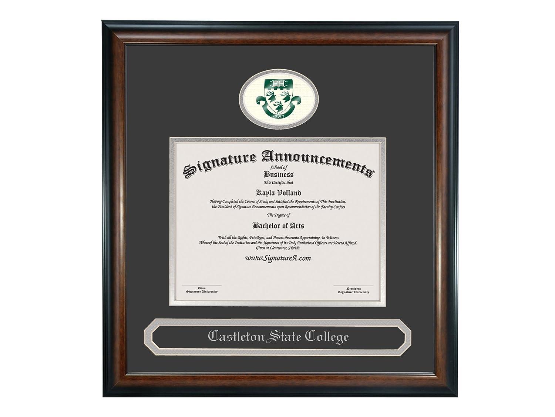 Signature Announcements Castleton-State-College Undergraduate Professional//Doctor Sculpted Foil Seal /& Name Graduation Diploma Frame 16 x 16 Matte Mahogany