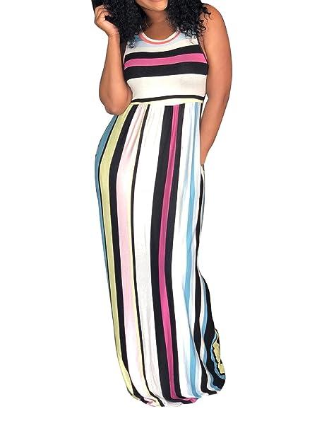 WOZNLOYE Sommer Damen Lange Kleid Freizeit Rundhals Ärmellos Kleider  Strandkleider Blusenkleider Mode Gestreift Kleider Maxikleider Partykleider 4150c9d83e