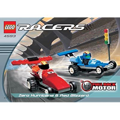 LEGO Racers Zero Hurricane & Red Blizzard Car Set, 4593, 70 Pieces with Pull Back Motor: Toys & Games