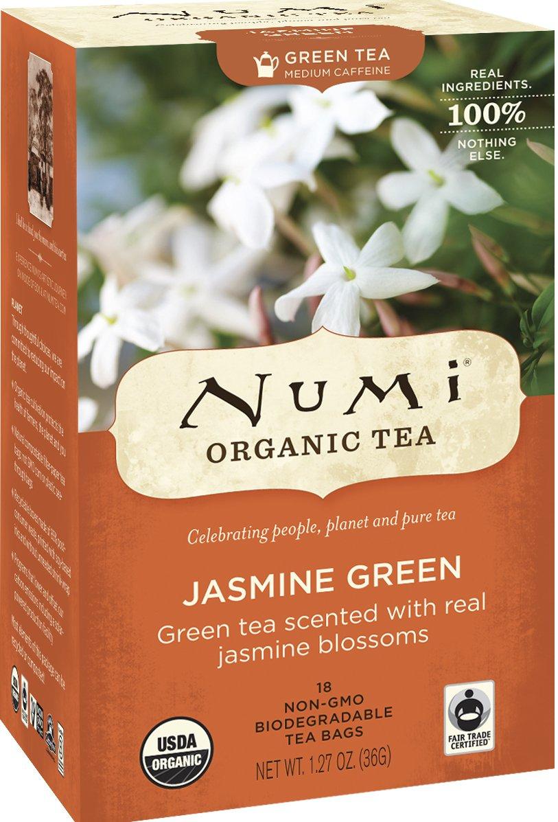 Numi Organic Tea Jasmine Green, Full Leaf Green Tea, 18 Count non-GMO Tea Bags (Packaging May Vary) (Pack of 3)