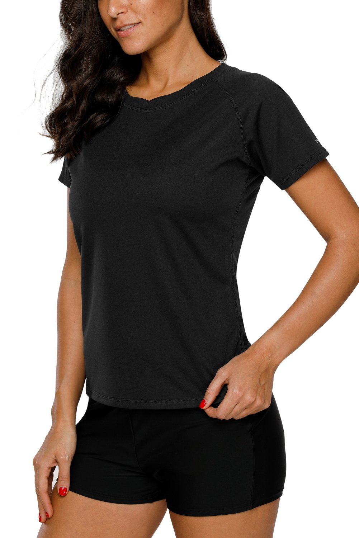 Vegatos Women Swim Shirt Short Sleeve UV Protection Rash Guard Swimsuit Top M by Vegatos (Image #4)