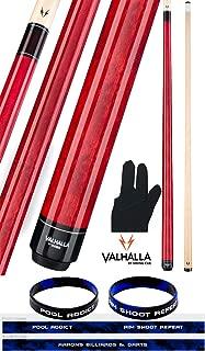 product image for Valhalla by Viking VA104 Red 2 Piece Pool Cue Stick No Wrap 18-21 oz. Plus Billiard Glove & Bracelet