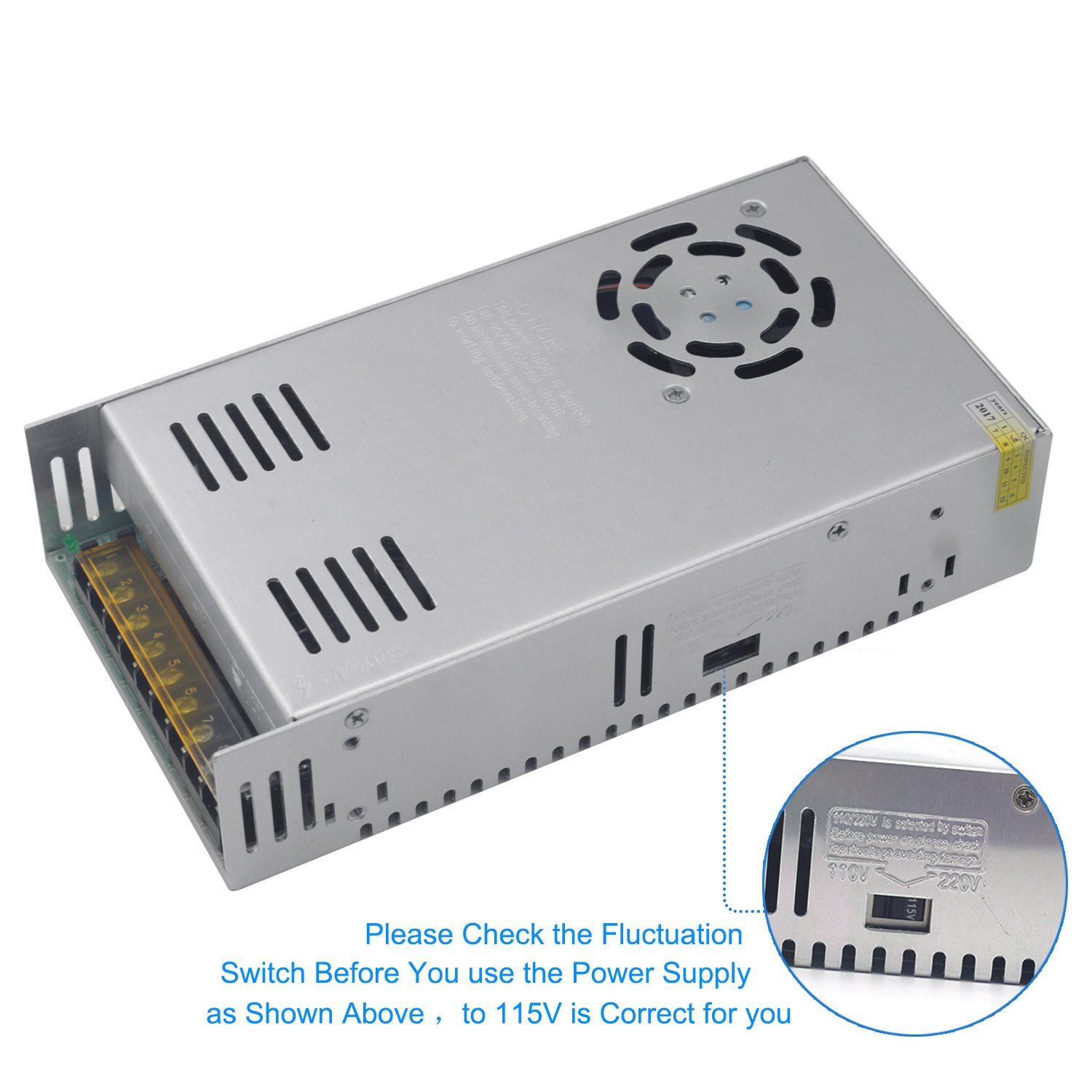 EAGWELL 24v 15a DC Universal Regulated Switching Power Supply 360w for CCTV,Radio,Computer Project, 3D Printer,LED Driver by EAGWELL (Image #5)