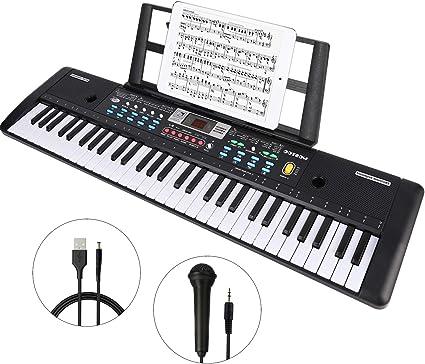 Digital Electric Piano 61 Keys Music Electronic Keyboard /& Microphone Set Gift
