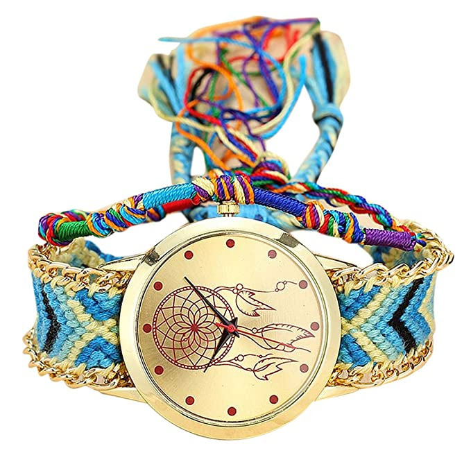 Amazon.com: WM & MW Women Girls Vintage Handmade Woven Bohemia Band Quartz Watch Dream Catcher Friendship Watches (H): Musical Instruments