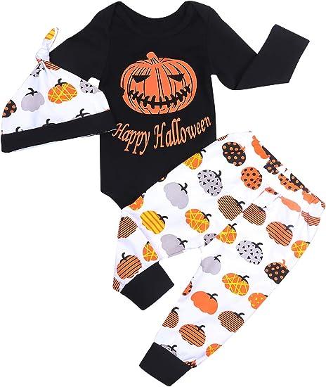 Cute Hat 3Pcs Clothes Set My First Halloween Newborn Infant Baby Boy Girl Outfits Long Sleeve Romper,Pumpkin Pant