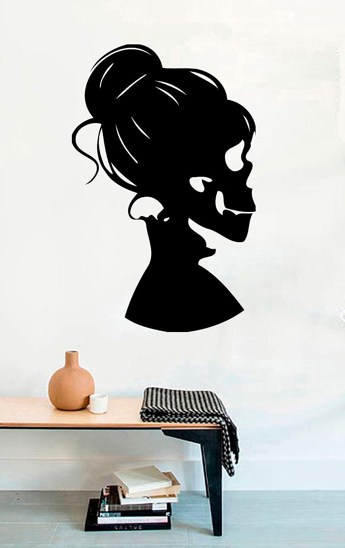 FSDS Vinyl Wall Decal - Silhouette Girl Skull Bones Death Halloween Skeleton Halloween - Home Decor Sticker Vinyl Decals