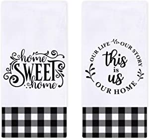 Farmhouse Family Kitchen Dish Towels Set of 2, Black White Buffalo Check Plaids Ultra Absorbent Fast Drying Cloth Decorative Tea Towels for Cooking and Baking 18 x 28 Inches