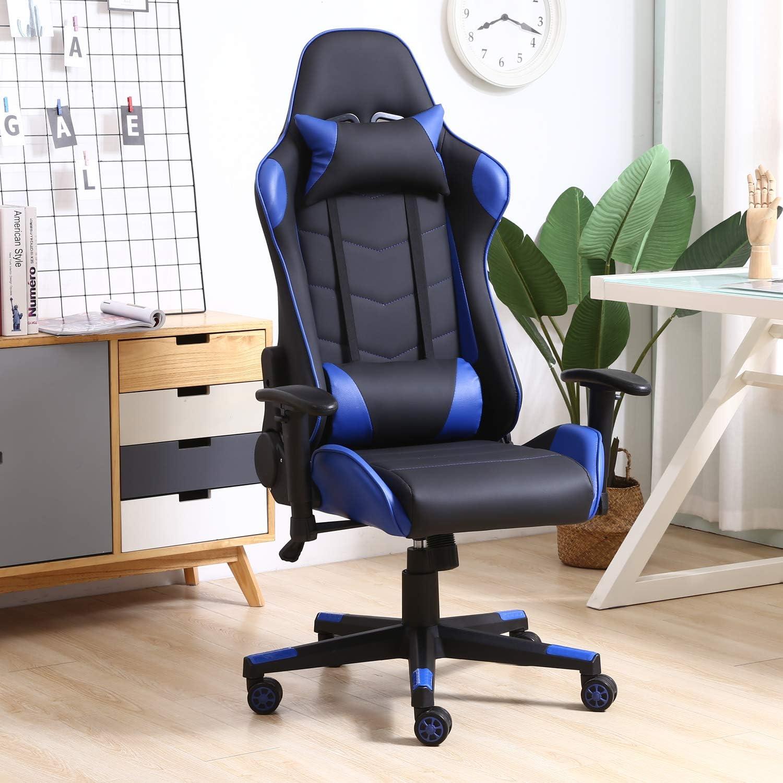 Sillón de Oficina Gaming Racer Profesional Azul, Silla con Reposacabeza Apoyo y Cojín Lumbar (Piel sintética,...
