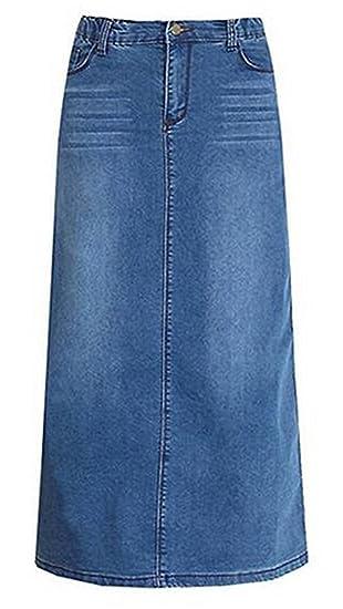 ECOTISH Mujeres Elegante Alta Cintura Denim A-Line Falda Slim Fit ...