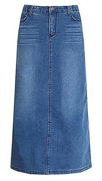 0c22804d9 ECOTISH Mujeres Elegante Alta Cintura Denim A-Line Falda Slim Fit ...