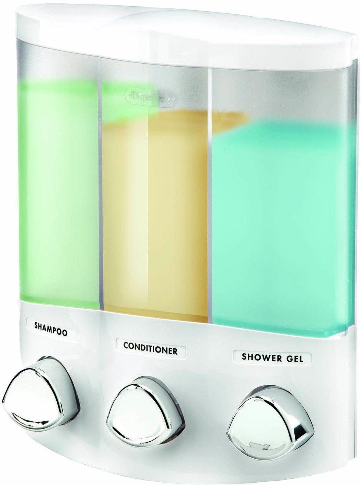 3 Chamber Shampoo Conditioner Soap Dispenser. Bathroom Shower Bath Tub Wall Pump