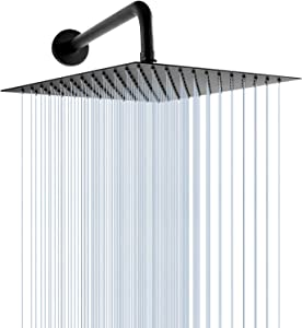Shower Heads GGStudy 12 Inch Square Stainless Steel Rain Shower Head Oil Rubbed Bronze(Black) With 15inch Shower Arm Large Rainfall Showerhead Waterfall Full Body Coverage Easy To Install