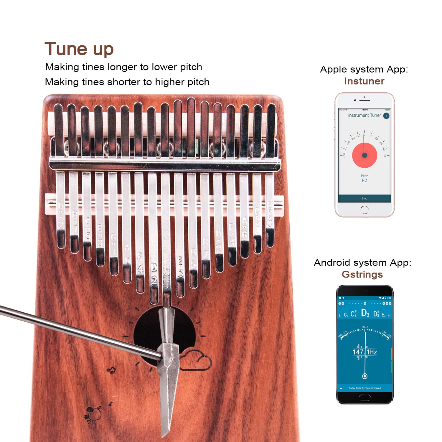 Kalimba 17 Keys Thumb Piano Solid Wood Finger Piano Musical Instrument with Study Instruction,Tuning Hammer,Gift for Kids Adult Beginners Professional without any musical basis(Dark Brown) by Tripolar (Image #6)