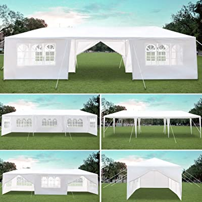 gonikm 3 x 9m Eight Sides Two Doors Outdoor Wedding Party Tent, Waterproof Tent with Spiral Tubes, Patio Parties Tent Sunshade Shelter Canopy with Removable Sidewalls for Wedding, Camping, BBQ : Garden & Outdoor