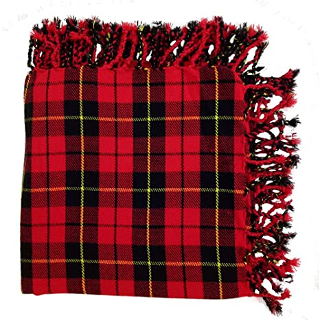 91450bae19707 Amazon.com: New Kilt Fly Plaid Acrylic Wool Scarf Rolled Fringe Shawl in  Different Colors (Wallace Tartan): Musical Instruments