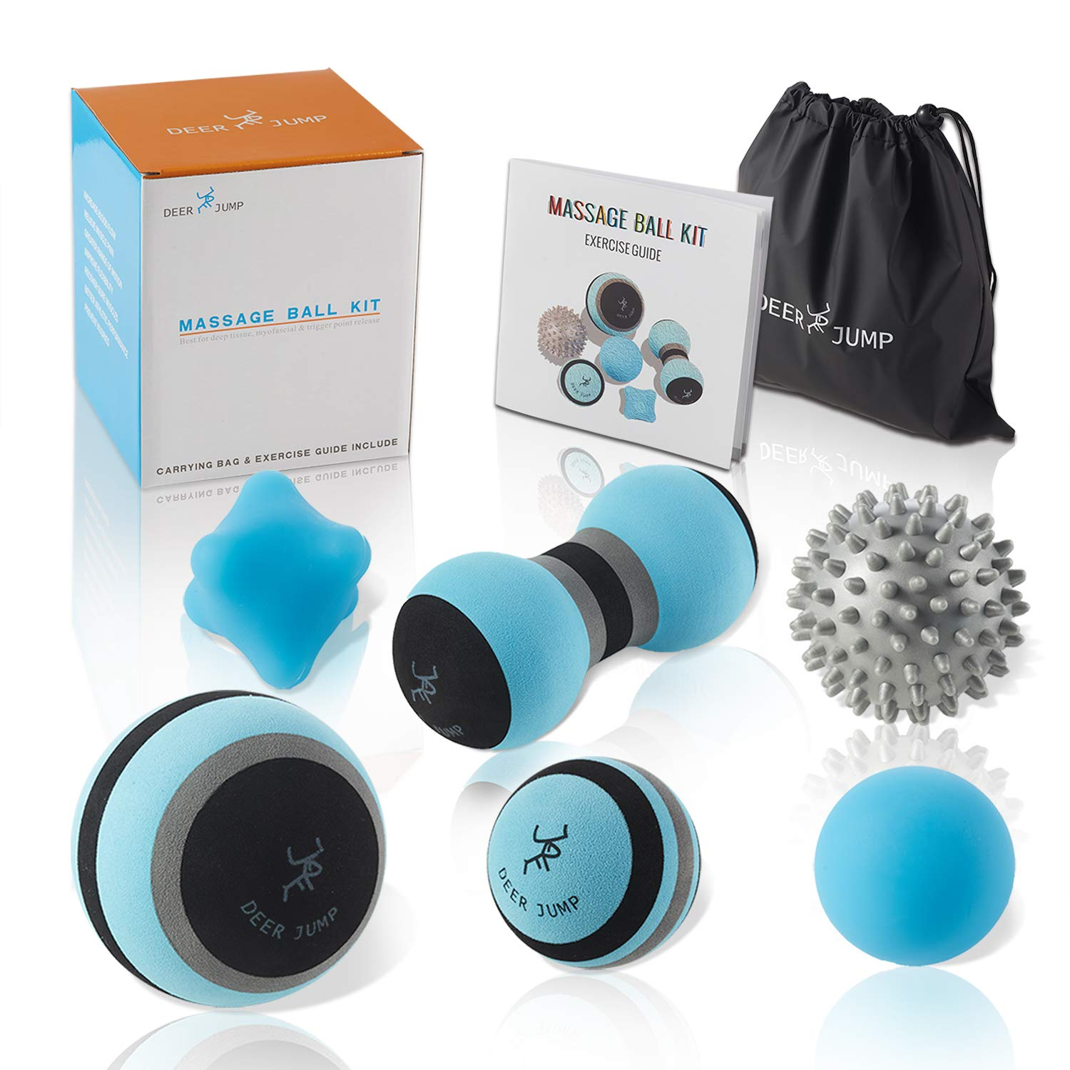 Massage Ball Kit for Myofascial Trigger Point Release & Deep Tissue Massage - Set of 6 - Large Foam/Small Foam/Lacrosse/Peanut/Spiky/Hand Exercise Ball - Carry Bag & Exercise Guide Include by DEERJUMP