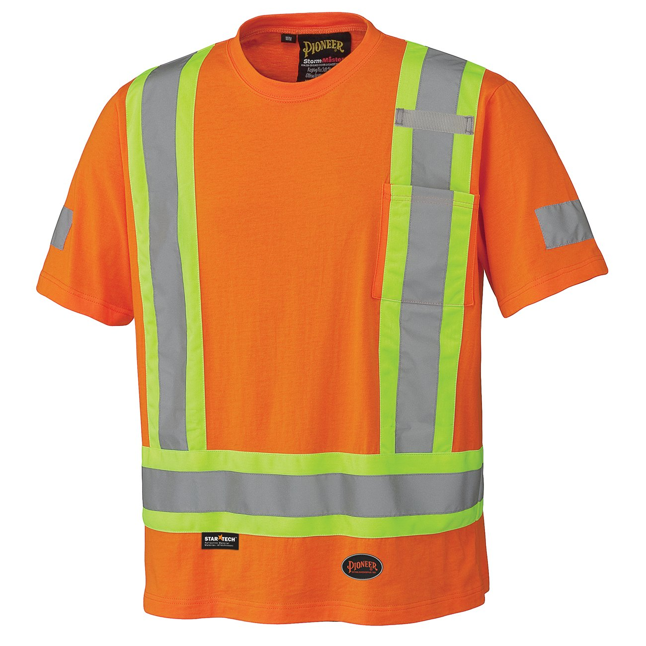 Pioneer V1050550-L 100% Cotton High Visibility Safety Work T-Shirt, Orange, L