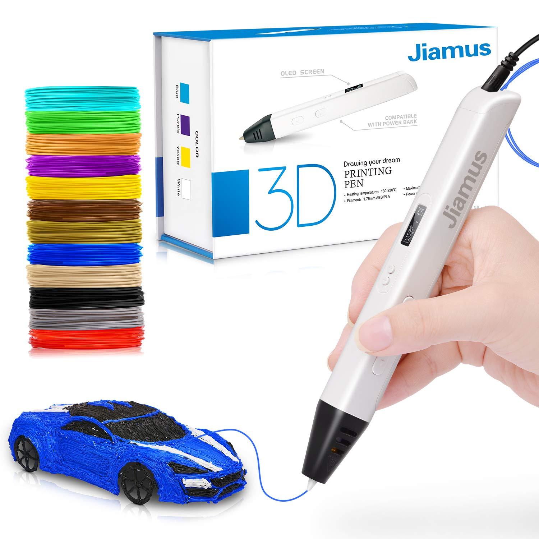 3D Druck Stift mit OLED-Bildschirm,Jiamus intelligente 3D Drucker Zeichnung Stift, kompatibel mit 1,75 mm PLA/ABS Filament,12 Fuß in 120 Farben,für Kinder und Erwachsene 12 Fuß in 120 Farben für Kinder und Erwachsene