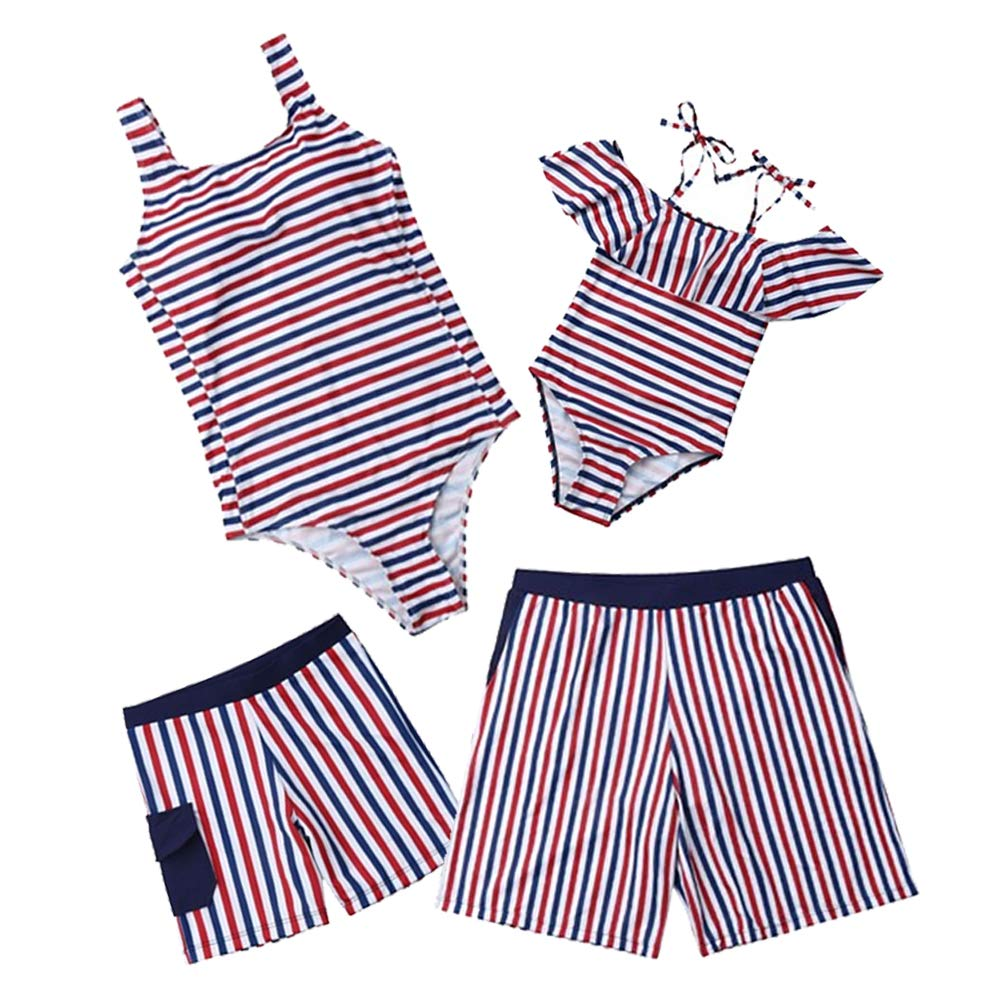 Striped Family Matching Swimwear Mom and Daughter Swimsuits/Father Son Matching Swim Trunks
