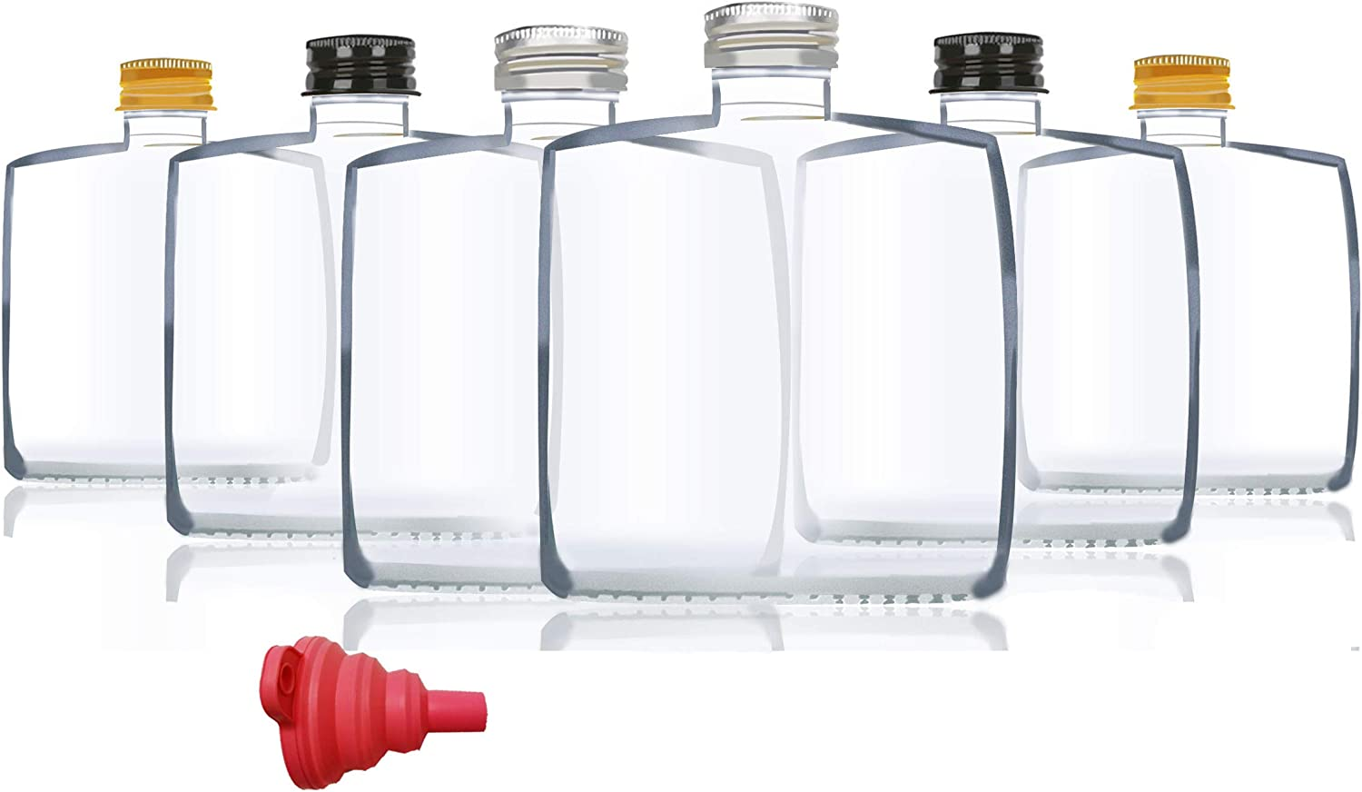 6 Packs Small Juice Mini Glass Liquor Wine Bottles for Milk Beverage Perfume Oil Hot Sauce Whiskey Soda Liquid Storage Honey Drink Containers bottle with Leak Proof Cap (250ml(8.7OZ), Clear glass)
