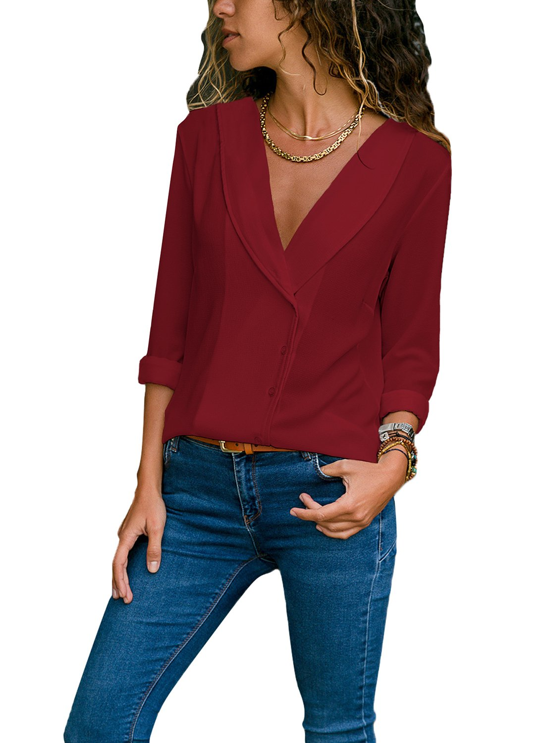 Diukia Women's Long Cuffed Sleeve V Neck Botton Front Solid Chiffon Causal Tops T-Shirt Blouses