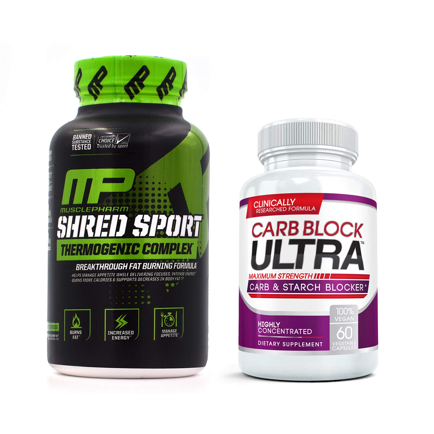 Shred Sport (60 Capsules) & Carb Block Ultra (2 Bottles) - Professional Strength Fat Burning, Weight Loss Package. Double Your Results!
