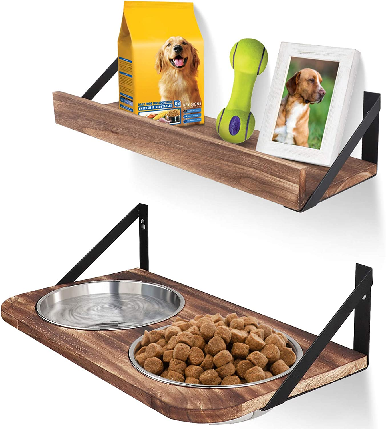 Emfogo Dog Bowls Customized Height Wall Mounted Elevated Pet Feeder with 2 Stainless Steel Dog or Cat Dishes and Storage Shelf Rustic Wood Raised Pet Bowls 15.7 in L