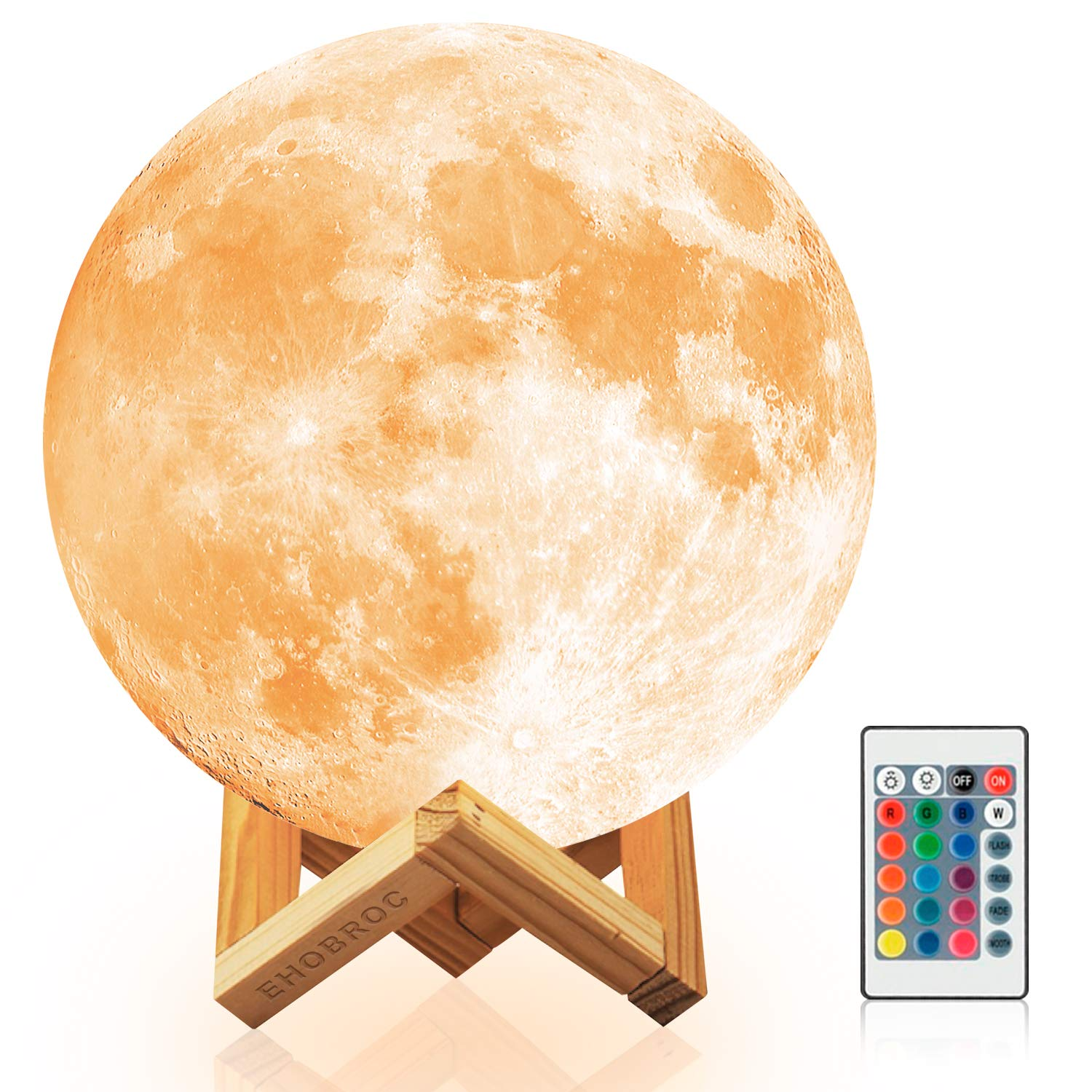 Ehobroc Moon Lamp, 3D Printing Moon Globe Light 5.9 inch Glowing Moon Lamp Touch Change Colors, Dimmable Remote Control 16 Colors RGB LED Moon Lamp, Decor Moon Light for Kids, Birthday, Bedside