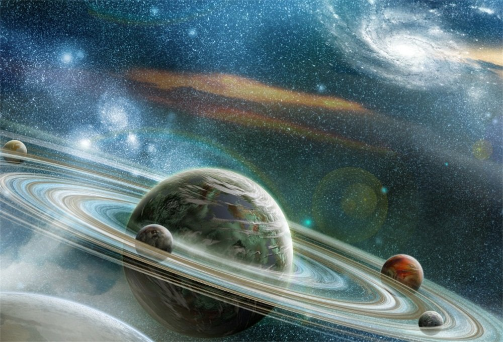 LFEEY 7x5ft Polyester Fantasy Space Planet Photo Backdrop Science Fiction Celestial Nebula Universe Galaxy Solar Ring System Photography Background Newborn Kids Baby Photo Studio Props No Wrinkle