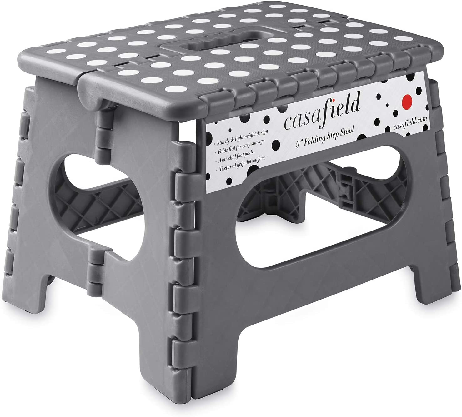 "Casafield 9"" Folding Step Stool with Handle, Gray - Portable Collapsible Small Plastic Foot Stool for Kids and Adults - Use in The Kitchen, Bathroom and Bedroom"