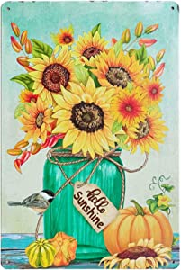 TISOSO Hello Sunshine Rustic Sunflower Flower Retro Vintage Tin Sign Farmhouse Wall Art Laundry Room Decor, Kitchen, Living Room, Bathroom & Bedroom 8X12Inch