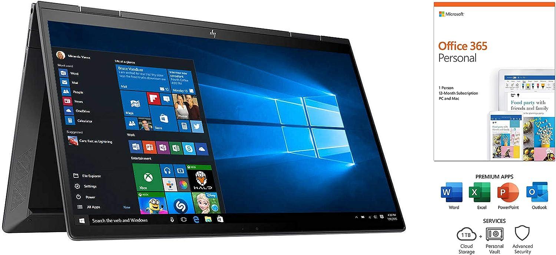 "HP Envy x360 13.3"" FHD Touchscreen 2-in-1 Laptop with Office 365, AMD Ryzen7 4700U (Beat Intel i7-8850H), IPS, Backlit Keyboard, USB-C, Integrated AMD Radeon, Win 10 (8GB RAM | 1TB SSD | Office 365)"