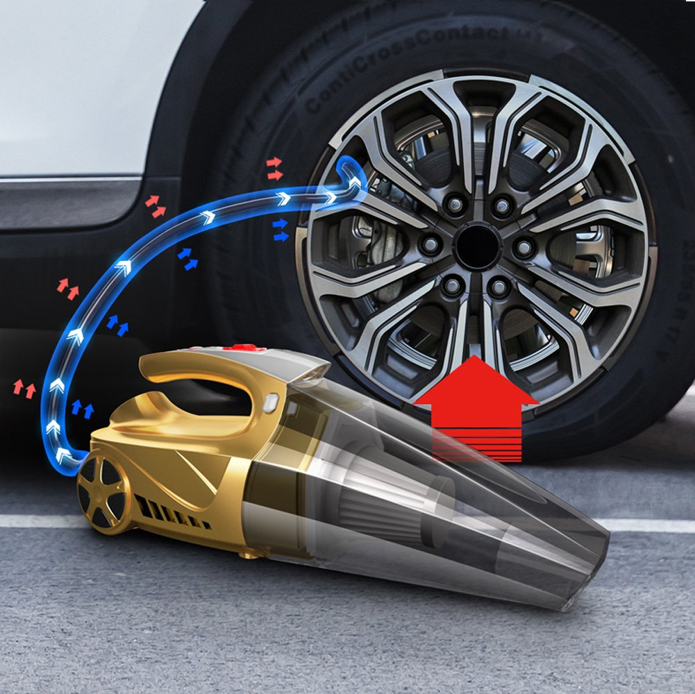Car Accessories Car Vacuum Cleaner Hand Held Vacuum Wet Dry DC 12V Vacuum High Power Vacuum with Tire Inflator and LED for Lighting - HEPA Filter by LECHEBANG (Image #3)