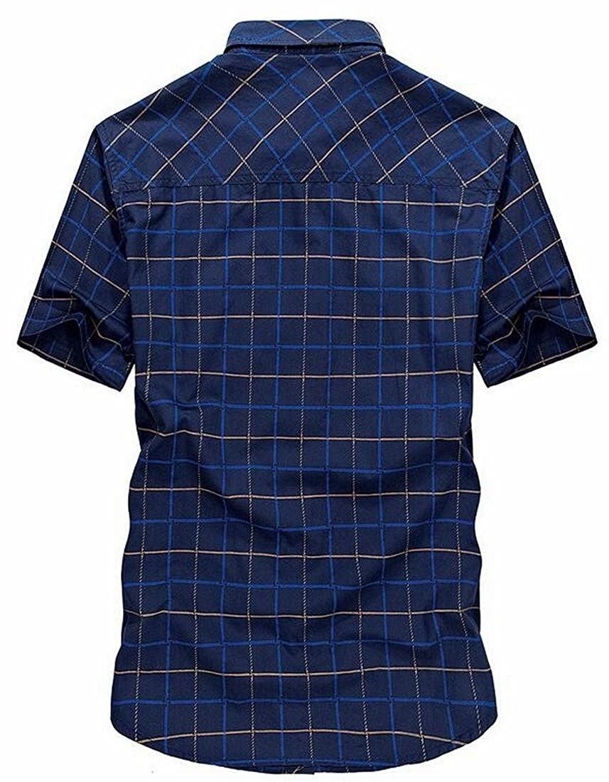 XiaoTianXin-men clothes XTX Mens Relaxed Fit Short Sleeve Cotton Lattice Button Down Shirt Top Tees