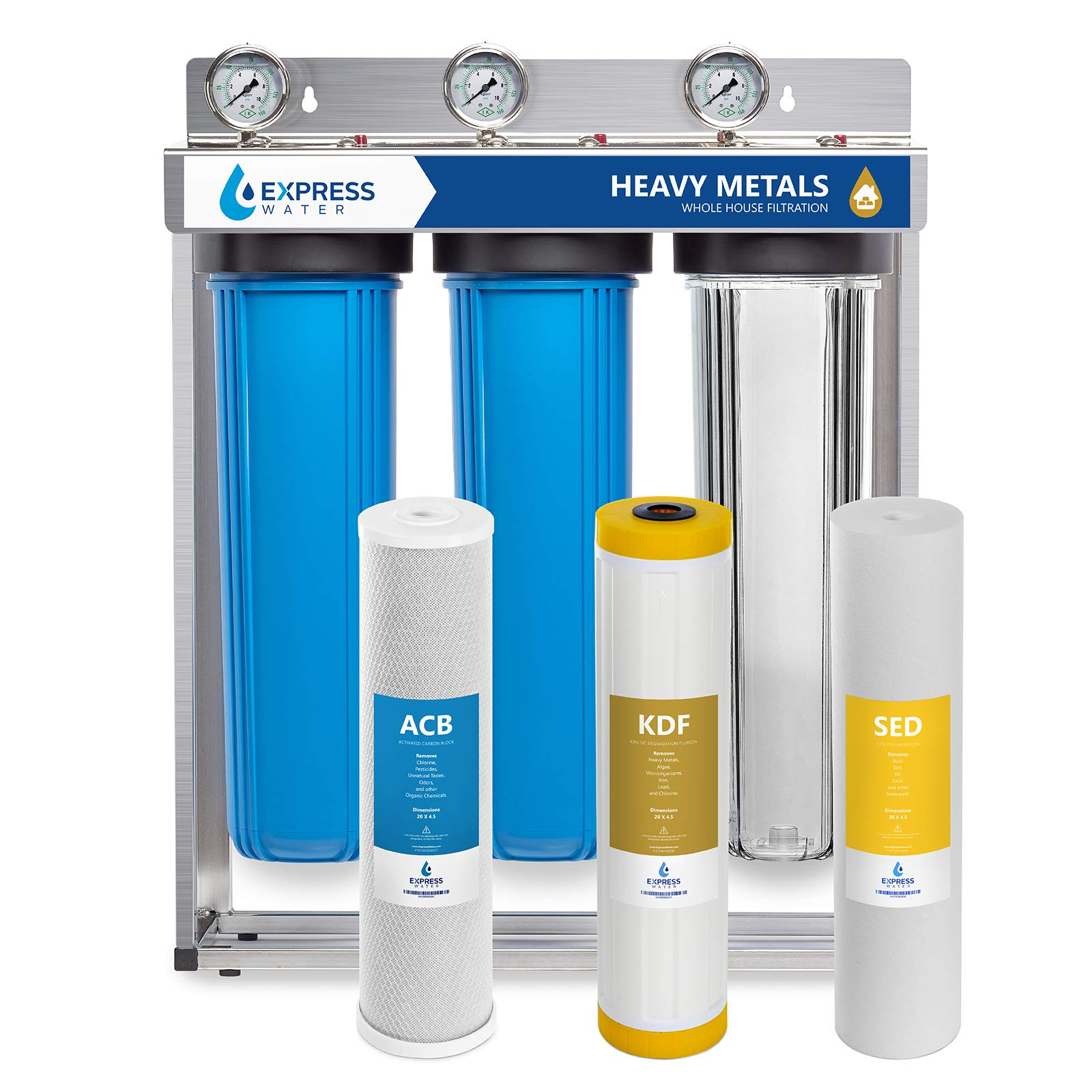 Express Water Heavy Metal Whole House Water Filter - 3 Stage Home Water Filtration System - Sediment, KDF, Carbon Filters - includes Pressure Gauges, Easy Release, and 1'' Inch Connections by Express Water