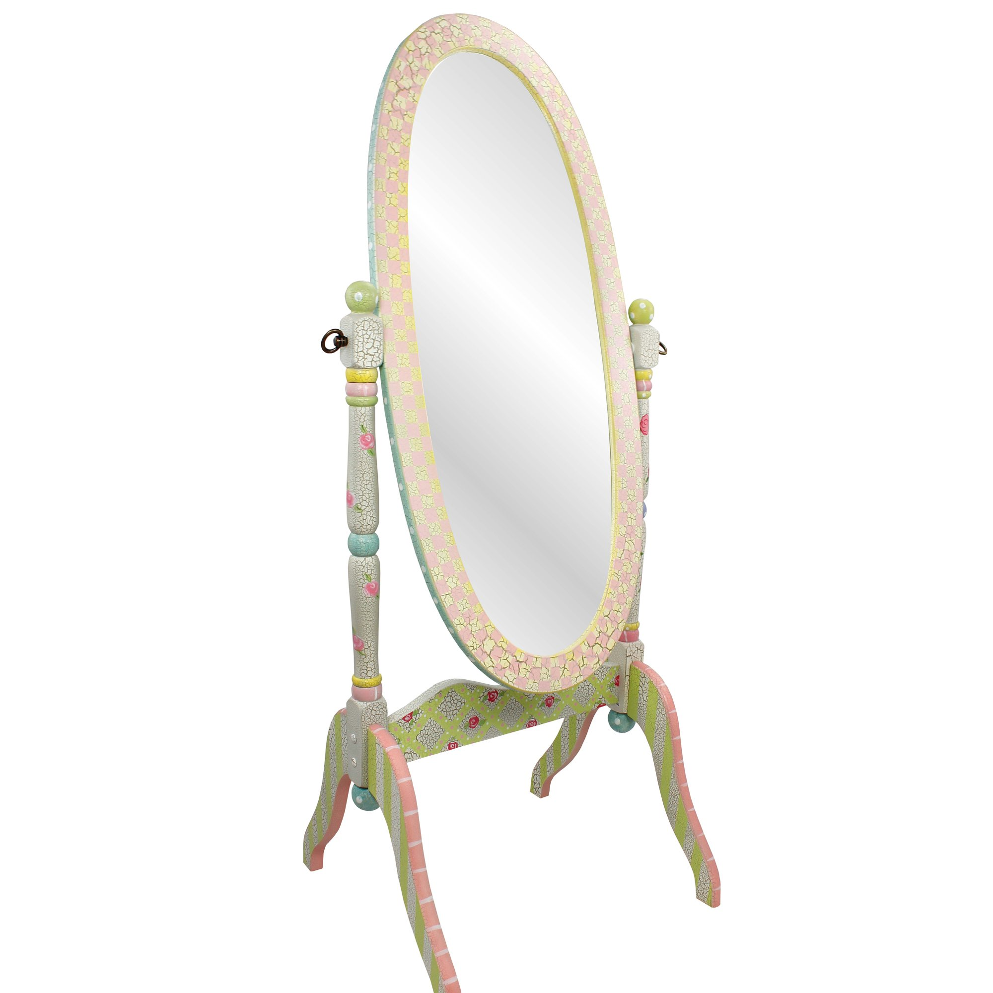 Fantasy Fields - Crackled Rose Thematic Kids Wooden Standing Mirror for Girls | Imagination Inspiring Hand Crafted & Hand Painted Details   Non-Toxic, Lead Free Water-based Paint