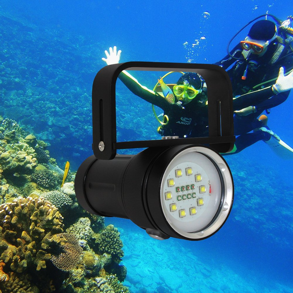 Professional Diving Light Underwater Photography, KC Fire 5000 Lumen High Power Scuba Diving Flashlight, 18650 Battery and Charger Included