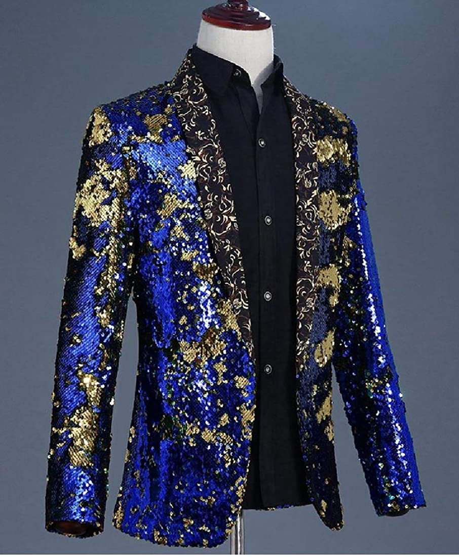Fieer Mens Evening Party Sequin Shiny Shawl Lapel Suit Blazer Jackets