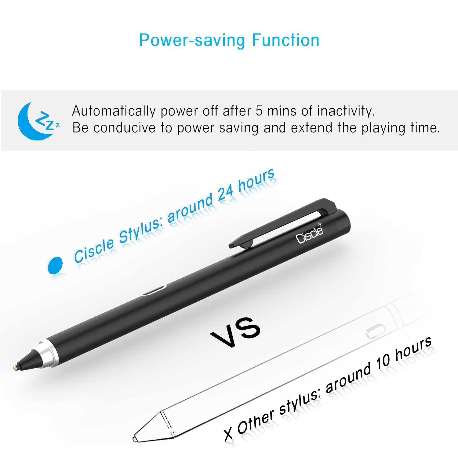 Active Stylus Pen, Ciscle Capacitive Digital Pen, 5 Mins Auto Power Off with High Precision Sensitivity 1.5mm Copper Tip, Fine Point Stylus for Touch Screen Devices, iPad/iPhone/Android Tablets-Black by Ciscle (Image #3)