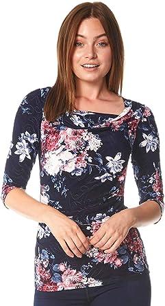 Roman Originals - Camiseta de manga 3/4 para mujer, diseño de flores: Amazon.es: Ropa y accesorios