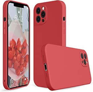 Red iPhone 12 Pro Max Liquid Silicone Case Compatible with iPhone 12promax,Silicone iPhone 12promax Protective Cover Case for iPhone 12promax-6.7 Inch