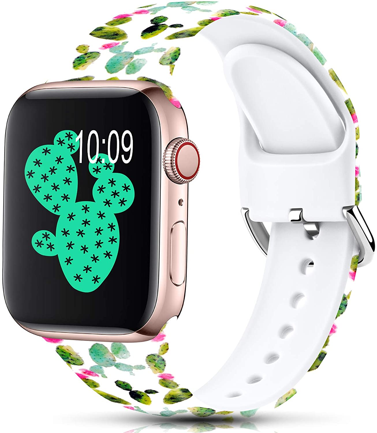 Sport Band Compatible with Apple Watch Bands 38mm 40mm for Women Men,Floral Silicone Printed Fadeless Pattern Replacement Strap Band for iWatch Series 3 6 5 4 2 1 SE,Catus,42/44 mm S/M