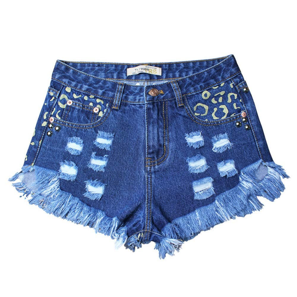 Perfectly Shaped Womens Spring and Summer Hole Loose High Waist Rivet Denim Womens Shorts Printed Hot Pants Casual